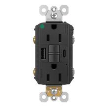 radiant 15A Hospital Grade Tamper Resistant Self Test GFCI USB Type AC Outlet, Black