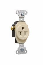 Heavy-Duty Spec Grade Single Receptacle, Side Wire, 15A, 125V, Ivory