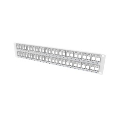 TechChoice - 48-Port - Front-Loading Keystone Panel with Removable Bezels - Label/Icon Field - Flat - 1RU - White