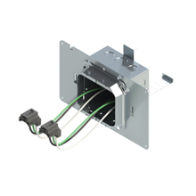 4'' Square Box with 2-Gang 5/8'' Plaster Ring and 2 Grounded PlugTail Receptacle Connectors with protective mud cover - Box of 10 [EF000057]