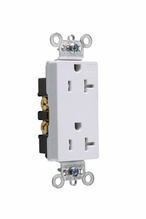 Tamper-Resistant Heavy-Duty Decorator Spec Grade Receptacles, Back & Side Wire, 20A, 125V, White
