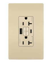 radiant® 20A Tamper-Resistant Self-Test GFCI USB Type-AC Outlet, Ivory