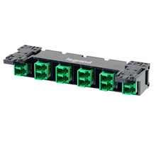 HDJ Series 6 LC Duplex to LC Duplex Fiber Adapter Panel, 12-Fiber OS2 - Green