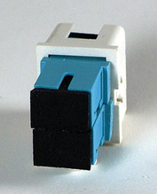 TracJack Module, 2-SC Simplex (2 Fibers) Multimode, Aqua adapters, 180 degree exit