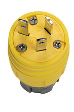 15/10A, 125/250V Watertight Straight Blade Plug, Yellow