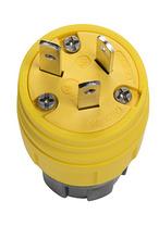15/10A, 125/250V Watertight Straight Blade Plug, Yellow