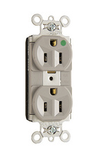 PlugTail® Heavy-Duty Compact Design Hospital-Grade Duplex Receptacle, Gray
