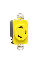 30 Amp NEMA L530 - Single Receptacle, Yellow, Corrosion-Resistant