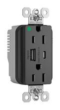 PlugTail® Hospital Grade 15A USB Charging Receptacles, Black