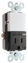Night Light with Single 15A Tamper-Resistant Outlet, Black