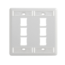 HDJ 6 PORT DOUBLE GANG FACEPLATE, WITH LABEL FIELD, CLOUD WHITE