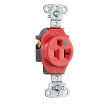 Hospital Grade Single Receptacles Tamper Resistant, Back & Side Wire, 20A, 125V, Red