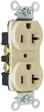 Construction Spec Grade Receptacles, Back & Side Wire, 20A, 125V, Ivory