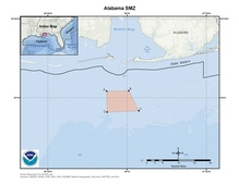 This is a map of the Alabama SMZ fishery management area in the Gulf of Mexico.