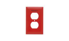 Pad Printed Wall Plate, Emergency, One Gang Duplex Receptacle, Red