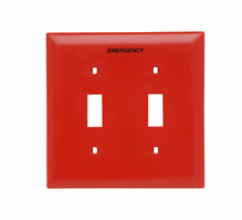 Pad Printed Wall Plate, Emergency, Two Gang Toggle, Red