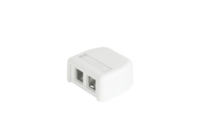 HDJ 2 port plastic surface mount box - white - with label field