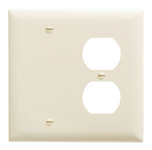 Combination Openings, 1 Blank & 1 Duplex Receptacle, Two Gang, Gray