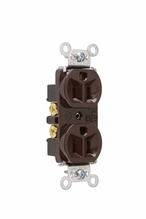 Hard Use Spec Grade Receptacle, Back & Side Wire, 15A, 125V, Brown