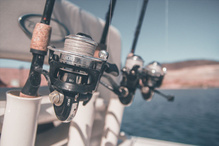 Fishing rods on a boat.