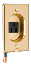 Clock Hanger Receptacles, Recessed with Brass Wall Plate, 15A, 125V