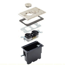 Rectangular Outlet Floor Box Kit - Nickel