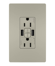 radiant® 15A Tamper-Resistant Self-Test GFCI USB Type-AA Outlet, Nickel, 4-Pack