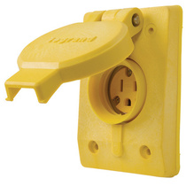 15A/10A, 125/250V Watertight Straight Blade, Single Receptacle, Yellow