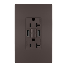 radiant® 20A Tamper-Resistant Self-Test GFCI USB Type-AA Outlet, Brown