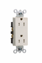 Tamper-Resistant Heavy-Duty Decorator Spec Grade Receptacles, Back & Side Wire, 15A, 125V, Ivory
