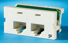 Series II, two-port Clarity 5E,T568A/B, 180 degree, Wiremold Ivory