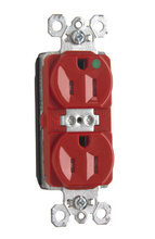 PlugTail® Tamper-Resistant Hospital Grade Receptacle, Back & Side Wire, 15A, 125V, Red
