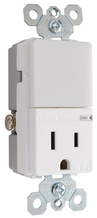 Night Light with Single 15A Tamper-Resistant Outlet, White