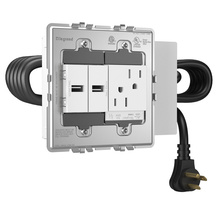 Furniture Power, Outlet and 2 USB ports, White