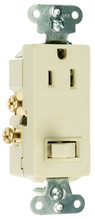 15A, 120/125V Decorator Combination Single-Pole Switch & Single Receptacle, Ivory