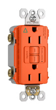 Spec-Grade Isolated Ground Tamper-Resistant 15A Self-Test Duplex GFCI, Orange