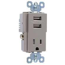 USB Charger with Tamper-Resistant Receptacle, Nickel