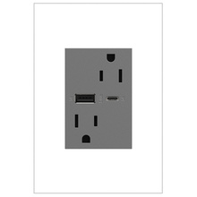 adorne 15A Tamper-Resistant Ultra-Fast USB Type A/C Outlet - Magnesium