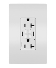 radiant® 20A Tamper-Resistant Self-Test GFCI USB Type-CC Outlet, White
