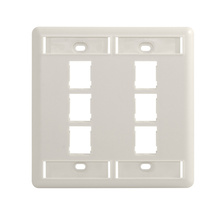 HDJ 6 PORT DOUBLE GANG FACEPLATE, FOG WHITE, WITH LABEL FIELD
