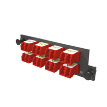 Infinium M4 HDFP Adapter Panel, 8 Keyed Front Non-Keyed Rear LC Duplex Adapters, 16 Fibers, Red