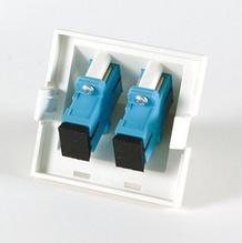 Series II Module, 2-SC Simplex (2 Fibers) Multimode, Aqua adapters, 45 degree exit