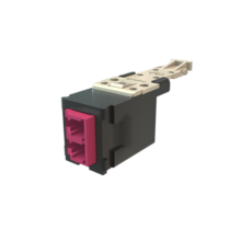 Infinium HD Fiber Module, Keyed Front Non-Keyed Rear LC Duplex (2 Fibers), HDJ Insert, Magenta Adapter, Black for Panel