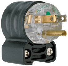15A, 125V Extra-Hard Use Hospital-Grade Angled Plug, Black & Clear