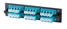 6-LC Quad (24 fibers) multimode aqua adapters with OM3/4 ceramic alignment sleeves