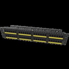 Category 6A TechChoice Flat Patch Panel 48 Port 2RU Black