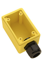 "Watertight Deep Yellow Back Box, 1"""" NPT Opening for Duplex Receptacles"