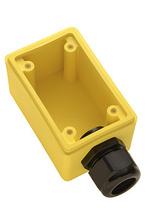 "Watertight Deep Yellow Back Box, 1"""" NPT Opening for Duplex Receptacles"