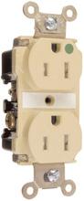 Tamper-Resistant Hospital Grade Receptacles, Back & Side Wire, 20A, 125V, Ivory