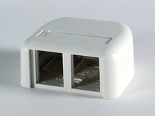 TRACJACK PLASTIC SURFACE MOUNT BOX FOR TWO TRACJACKS SINGLE SIDED, WITH COVER, FOG WHITE
